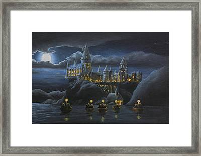 Hogwarts At Night Framed Print by Karen Coombes