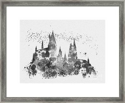 Hogwarts Black And White Framed Print by Rebecca Jenkins