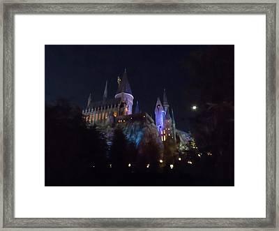 Hogwarts Castle In Lights Framed Print by Kathy Long