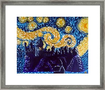 Hogwarts Starry Night Framed Print by Jera Sky