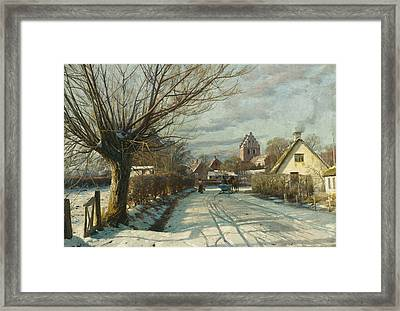 Hoje Taastrup Church Outside Copenhagen Framed Print by Peder Monsted