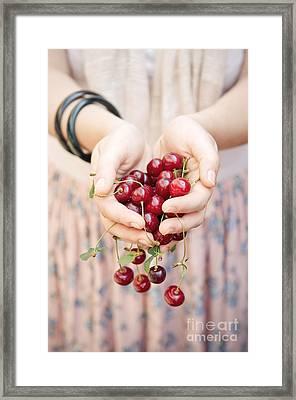 Holding Cherries  Framed Print by Viktor Pravdica