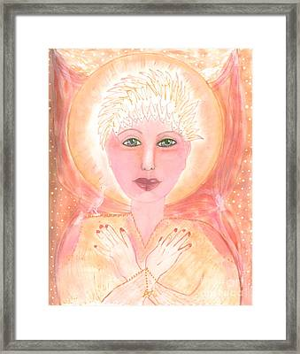 Holding The Sacred Space Framed Print by Nancy TeWinkel Lauren