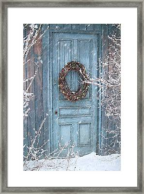 Barn Door And Holiday Wreath/digital Painting Framed Print by Sandra Cunningham