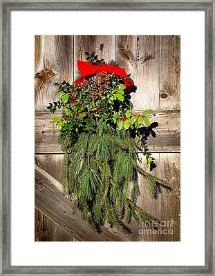 Holiday Barn Door Framed Print by Olivier Le Queinec