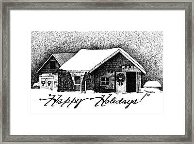 Holiday Barn Framed Print by Joy Bradley