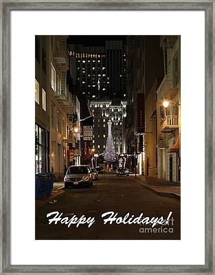 Holiday Christmas Card . Maiden Lane San Francisco Framed Print by Wingsdomain Art and Photography