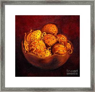 Holiday Citrus Bowl  Framed Print by Iris Richardson