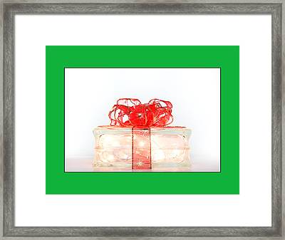 Holiday Glass Gift Box With Red Bow Framed Print by Jo Ann Tomaselli