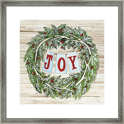 Holiday Sayings I On Wood Framed Print by Kathleen Parr Mckenna