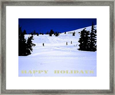Holiday Skiers At Mt Hood  Oregon Framed Print by Glenna McRae