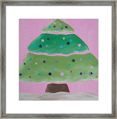 Holiday Tree With Pink Framed Print by Tracie Davis