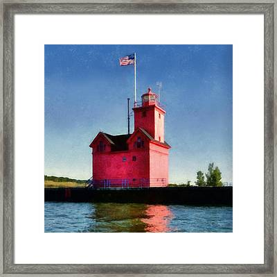 Holland Harbor Light From The Channel Framed Print by Michelle Calkins