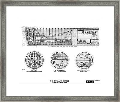 Holland Tunnel Construction Framed Print by Underwood Archives