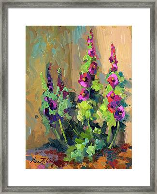Hollyhocks At Giverny Framed Print by Diane McClary