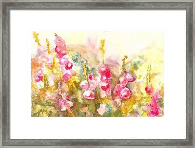Hollyhocks Framed Print by Kelly Perez