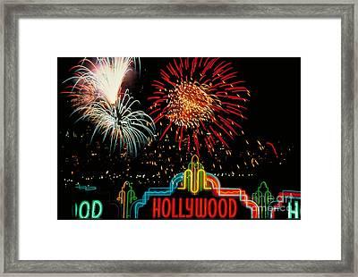 Hollywood Fireworks Framed Print by Carroll Seghers II