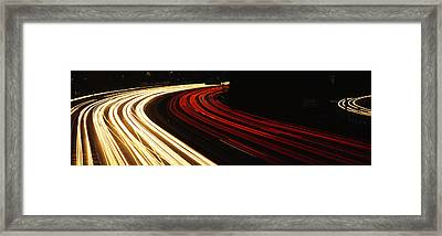Hollywood Freeway At Night Ca Framed Print by Panoramic Images