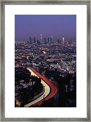 Hollywood Freeway Los Angeles Ca Framed Print by Panoramic Images
