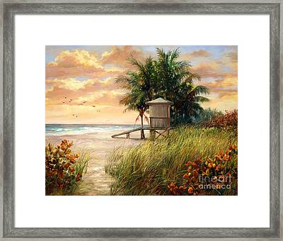 Hollywood Life Guard Hut Framed Print by Laurie Hein