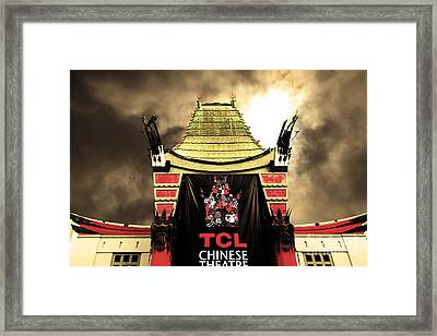 Hollywood Tcl Chinese Theatre 5d28983 Sepia Framed Print by Wingsdomain Art and Photography