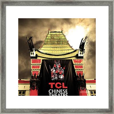Hollywood Tcl Chinese Theatre 5d28983 Square Sepia Framed Print by Wingsdomain Art and Photography