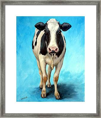 Holstein Cow Standing On Turquoise Framed Print by Dottie Dracos