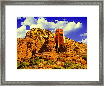 Holy Cross Chapel Coconino National Forest Framed Print by Bob and Nadine Johnston