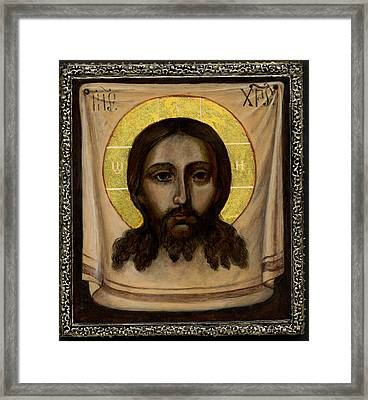 Holy Face Image - Not Made By Hands Framed Print by Fr Barney Deane
