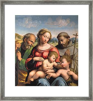 Holy Family With The Infant St. John The Baptist And St. Francis Framed Print by Innocenzo da Imola