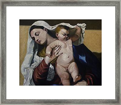 Holy Mother And Son Framed Print by Sourav Bose
