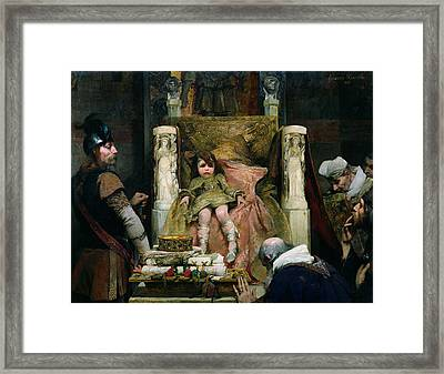 Homage To Clovis II 635-657 Oil On Canvas Framed Print by Albert Pierre Rene Maignan
