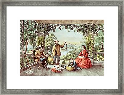 Home From The Brook The Lucky Fisherman Framed Print by Currier and Ives