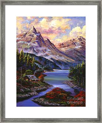 Home In The Mountains Framed Print by David Lloyd Glover