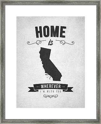 Home Is Wherever I'm With You California - Gray Framed Print by Aged Pixel