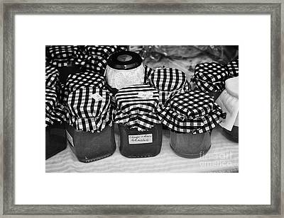 Home Made Jams And Marmalades On A Charity Stall At An Outdoor Event In The Uk Framed Print by Joe Fox