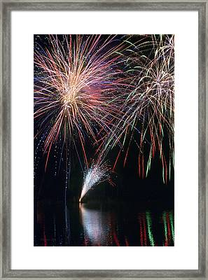 Home Of The Brave Fireworks Framed Print by Christina Rollo