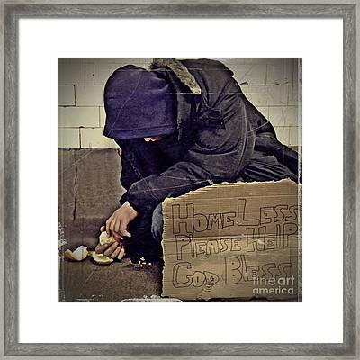 Homeless Please Help Framed Print by Sarah Loft