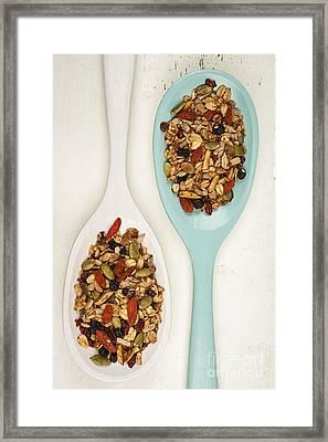 Homemade Granola In Spoons Framed Print by Elena Elisseeva