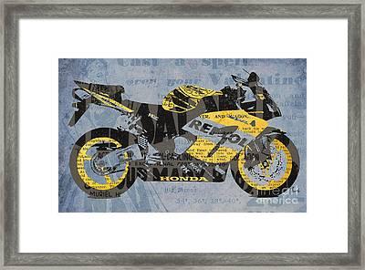 Honda Cbr1000 - Old Newspaper Cuts Framed Print by Pablo Franchi