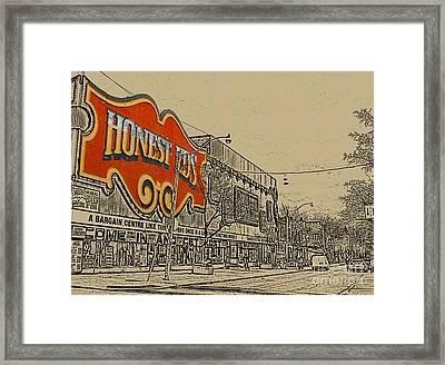 Honest Eds On Markham Street Framed Print by Nina Silver