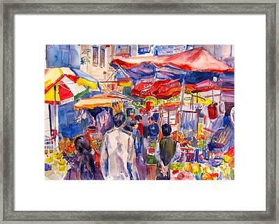 Hong Kong Market Framed Print by Joyce Kanyuk