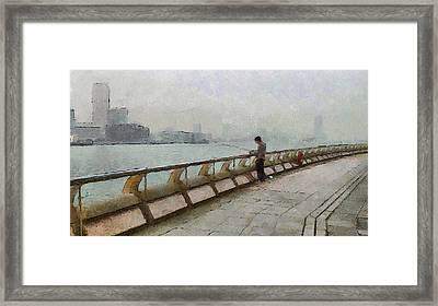 Hong Kong Promenade Fishing Framed Print by Yury Malkov