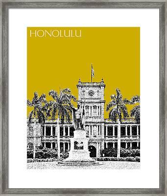 Honolulu Skyline King Kamehameha - Gold Framed Print by DB Artist