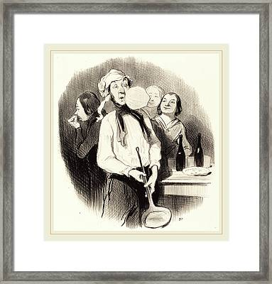 Honoré Daumier French, 1808-1879, Les Crêpes Framed Print by Litz Collection