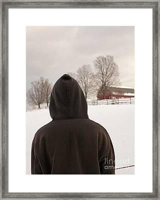 Hooded Boy At Farm In Winter Framed Print by Edward Fielding