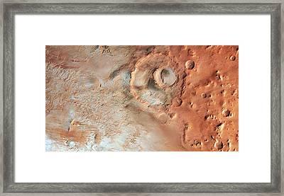 Hooke Crater Framed Print by Esa/dlr/fu Berlin