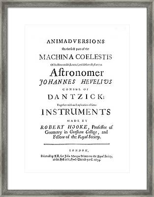 Hooke On Hevelius, 1674 Framed Print by Science Photo Library