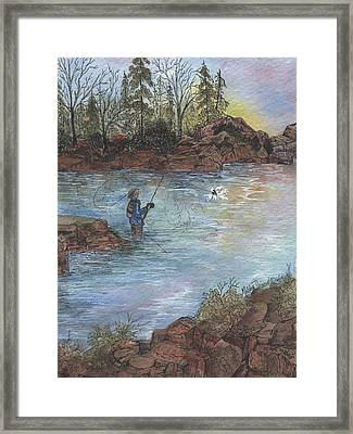 Hooked At Dawn On The Alsea Framed Print by Meldra Driscoll