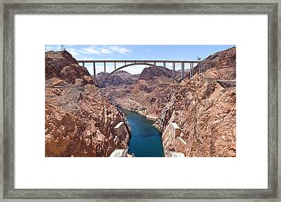 Hoover Dam Canyonland And Bridge Framed Print by Panoramic Images